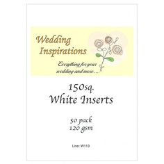 Craft UK card inserts - square 6 x 6 inch size white colo…
