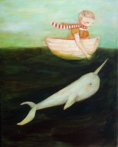 pretty painting (featuring a narwhal--what's up!)