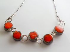 Red rounds Raku Raku necklace Raku jewel sterling by LaTerraCanta