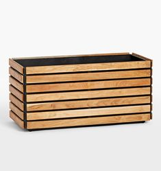 Jasper Wide Planter - Outdoor Home Decor - Pots & Planters Wood Planter Box, Wood Planters, Indoor Planters, Garden Planters, Small Patio Ideas On A Budget, Outdoor Doors, Small Backyard Landscaping, Landscaping Design, Fence Landscaping