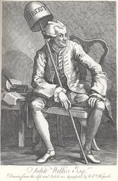 A satirical engraving of Wilkes by William Hogarth, who shows him with a demonic-looking wig, crossed eyes, and two editions of his The North Briton: Numbers 17 (in which he attacked, amongst others, Hogarth) and the famous 45.