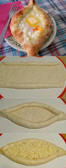 Khachapuri in an Adzharian way — very tasty recipe! Russian Recipes, Turkish Recipes, Georgian Food, Bread Shaping, Good Food, Yummy Food, Bread And Pastries, Food To Make, Food Porn