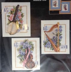 Musical Trio Banjo Harp Bass Orchestra Instruments Counted Cross Stitch Kit 1996