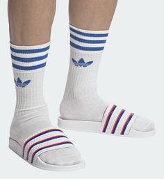 Slide Rule, Slide Sandals, Socks, Sneakers, Fashion, Sandals, Tennis, Moda, Slippers