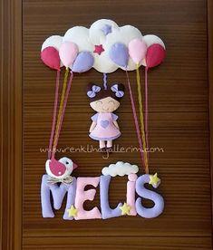 Melis isimli Pembe Mor Kız kapı süsü Name Crafts, Rose Violette, Felt Toys, Presents, Baby Shower, Crafty, Biscuit, Craft, Felt Crown