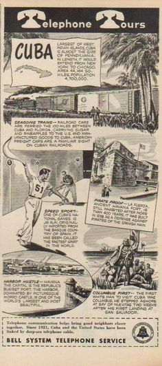 cuba in the 1940's | 1946 Bell Telephone Cuba Havana Jai Alai Vintage 1940's Phone Print Ad ...