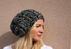 Handknit Hat Slouch Beanie Slouchy Winter hat Black by EllenaKnits