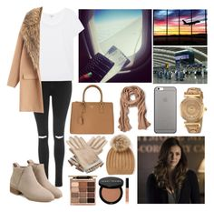 """""""Arriving to Barcelona, Spain to visit my brother and his family."""" by duchessamparo ❤ liked on Polyvore featuring Topshop, Splendid, Prada, Banana Republic, Native Union, Hermès, Versace, Stila and Bobbi Brown Cosmetics"""
