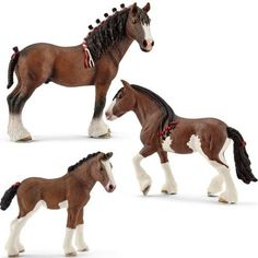 Schleich mF-11 Clydesdale Familie (3 Stk) 13808 Clydesdale Wallach - 13809 Clydesdale Stute - 13810 Clydesdale Fohlen