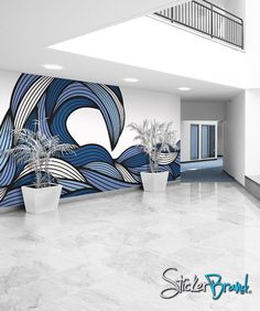 water stylization - mural research - Wall Mural Decal Sticker Bristle Ocean Wave.