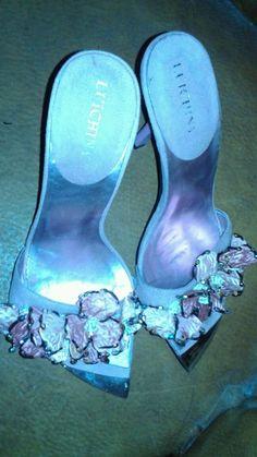 LUICHINY ladies pink mauve Evening Heels Shoes SZ 8 M rhinestones & silk florals #Luichiny #OpenToe
