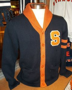Preppy Vintage Style Mens Syracuse Button Up Cardigan from The Vault