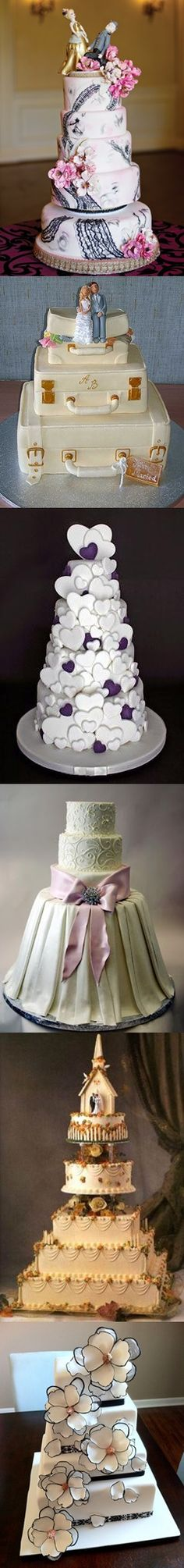 wedding cakes- love the suitcase one!!