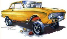 car art by chris frogett   Hot Rod T Shirt Falcon Gasser