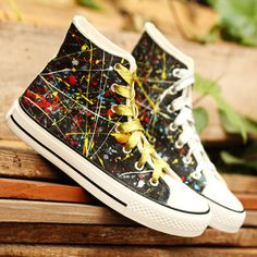 3575ed3c4860 Harajuku Star Graffiti Lace-up Canvas Shoes