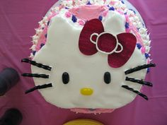 Hello Kitty Cake... boiled frosting, jelly beans, black licorice, and fondont