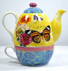Amazon.com: Tea set or tea for one teapots with butterfly designs: Kitchen & Dining