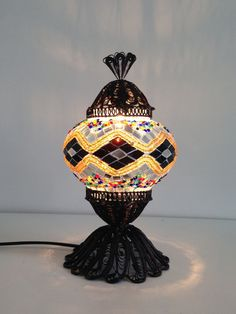 Authentic Golden Turkish Mosaic lamp with hand crafted copper base