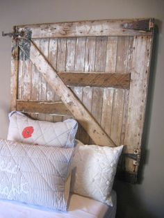 Loved this old gate made into a headboard.  So So shabby/rustic!