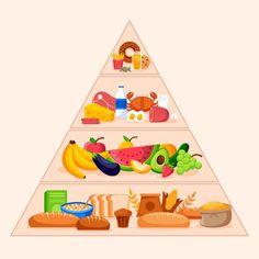 Preschool Crafts, Crafts For Kids, Vitaminas B9, Cute Food Drawings, Food Pyramid, Food Concept, Healthy Fruits, Kids Nutrition, Food Illustrations
