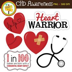 FREE CHD Awareness Clipart : Heart Warrior : 1 in 100