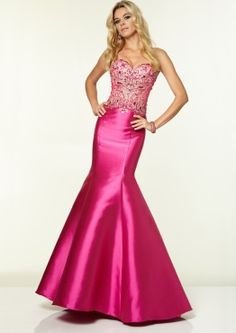 97006 Prom Dresses / Gowns Beaded Mesh on Larissa Satin fuchsia Available at Eva's Bridal Center White Beaded Dress, White Satin Dress, Beaded Prom Dress, Sheer Dress, Pink Dress, Mermaid Gown Prom, Sweetheart Prom Dress, Mermaid Evening Dresses, Mermaid Skirt