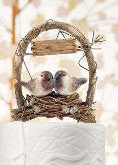 Cake Toppers para boda: fotos ideas originales - Cake toppers adornos para el pastel nido de pájaros