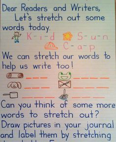 Morning Message Helpung Lids Learn to Stretch Out Words. Great writing and phonics mini lesson. Kindergarten Anchor Charts, Kindergarten Writing, Teaching Writing, Writing Activities, Kindergarten Classroom, Writing Ideas, Teaching Ideas, Spelling Activities, Language Activities