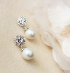 Pearl Wedding Bridal Jewelry White Shell Pearl Bridal Earrings Lux round cubic zirconia sterling silver post earrings wedding party gift by DreamIslandJewellery on Etsy
