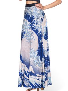 The Great Wave Maxi Skirt (AU $120AUD) by Black Milk Clothing M PC ≈ £70