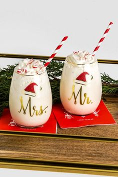 Gold Mr. and Mrs. Santa Hat Stemless Wine Glass Set