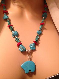 ISLETA SOUTHWEST TURQUOISE & Coral Necklace  by AVIASPLACE on Etsy, $40.00