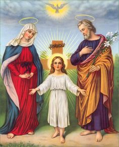 Jesus with his Mother Mary and his foster father Joseph. The Holy Family Religious Photos, Religious Icons, Religious Art, Christian Images, Christian Art, Catholic Art, Catholic Prayers, Roman Catholic, St Anne