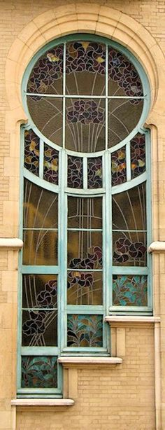 Art Nouveau Window in Brussels - 1904 - Architect: Ernest Delune - Location: 6 Rue du Lac, Brussels, Belgium - Art Nouveau Architecture