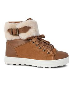 Loving this Chestnut Sheepskin Lace-Up Ankle Boot on #zulily! #zulilyfinds