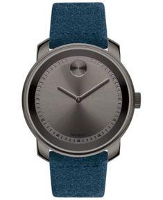 9d6d090058515 Men s Swiss BOLD Blue Suede Strap Watch 43mm