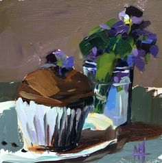 Chocolate Cupcake with Sugared Violets Original Still Life Oil Painting by Angela Moulton 6 x 6 inch pre-order by prattcreekart on Etsy