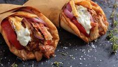 Homemade Greek Pork Gyros Souvlaki recipe - My Greek Dish - greek food - Greek Lamb Souvlaki Recipe, Souvlaki Pork, Souvlaki Marinade, Chicken Gyros, Chicken Souvlaki, Chicken Skewers, Grilled Chicken, Greek Pita