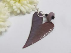 Heart Necklace - Purple glazed - seaglass - Love Jewelry