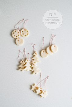 A tutorial for salt dough ornaments that are easy to make and look absolutely lovely. Get creative this holiday season, fun guaranteed! Christmas Style, Noel Christmas, Christmas Crafts For Kids, Holiday Crafts, Christmas Decorations, Xmas, Christmas Ornaments, Holiday Decor, Tree Decorations