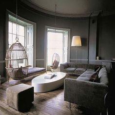 Birdcage swings in modern living room.  LOVE.  swing living room by moroccanmaryam, via Flickr