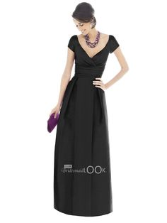 sheath black satin bridesmaid dress with v-neck cap sleeve floor length formal dress