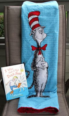Baby Blanket Dr Seuss Cat in the Hat Flannel by kreationsbykona, $39.99