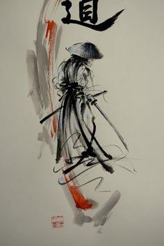 Bushido Way of the Samurai. Modern style abstrait peinture décoration. Aquarelle Art Original. Style de calligraphie japonaise dencre.  Encre originale « Bushido » peinture faite avec les outils traditionnels sur papier aquarelle Artistico Fabriano par moi. Non encadrés. Signé. Certificat dauthenticité incluse...  taille (pouces): 22,4 x 29,5 taille (cm): 57 x 75 cm Artiste: © Mariusz Szmerdt signature de lartiste : hanko (sceau de lartiste) type de peinture : encre et aquarelle type de…
