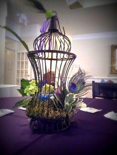 peacocks centerpiece for wedding www.flowersfromus.net