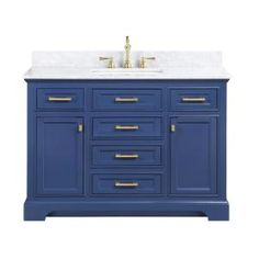 Design Element Milano 54 in. W x 22 in. D Bath Vanity in Blue with Carrara Marble Vanity Top in White with White Basin - The Home Depot Single Sink Bathroom Vanity, Vanity Sink, Bath Vanities, Master Bathroom, Sinks, Small Bathroom, 72 Double Sink Vanity, White Sink, White Marble