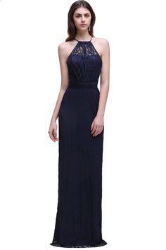 Foto Asli Navy Blue Bridesmaid Dresses Panjang 2017 Chiffon Lace A Line  Zipper-Up Lantai Panjang 1f0d14b05b06