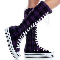 I found 'Black-Purple-Plaid-Canvas Platform Sneaker Womens Knee High Boots' on Wish, check it out!