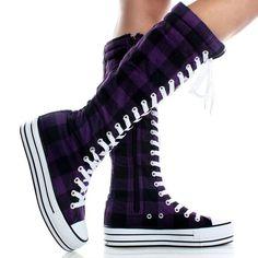 purple converse boots