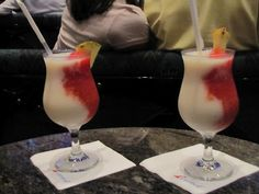 Miami Vice - a drink on Carnival cruise ships. (1/2 pina colada, 1/2 strawberry daiquiri)